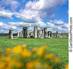 ciel, stonehenge, dramatique, angleterre