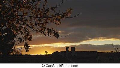 ciel, suburbain, dramatique, coucher soleil, scène
