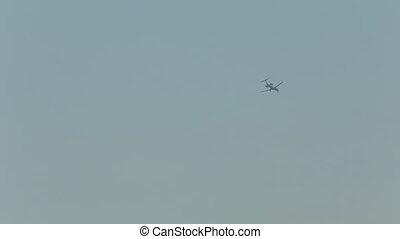 ciel, sur, voler, surface, avion, skydiver, mer