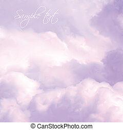 ciel, vecteur, clouds., rose, blanc
