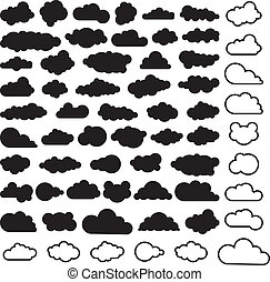 ciel, vecteur, nuages, dessin animé, collection