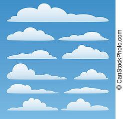 ciel, vecteur, nuages