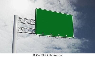 ciel, vert, sur, arrière-plan., vide, animation, signe, route