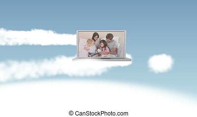 ciel, vidéo, famille, heureux