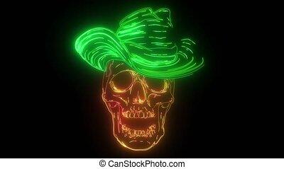 cigare, gangster, video., tête, crâne, mort, chapeau