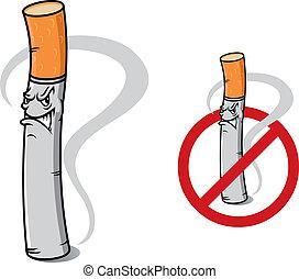 cigarette, non, signe, fumer, danger