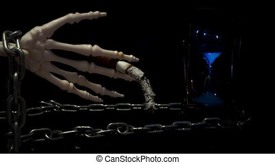 cigarette., squelette, tenant main