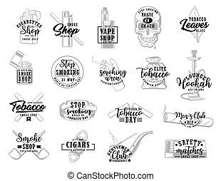 cigarettes, tabac, feuilles, signe, fumée, fumer