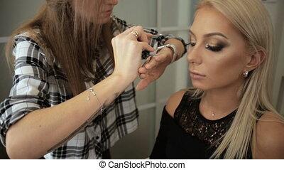 cils, bâtons, beauté, artiste, maquillage, yeux, bar, blond