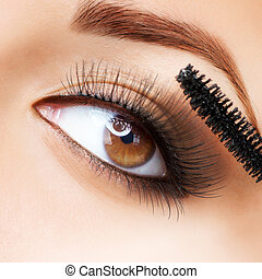 cils, demande, makeup., mascara., long, make-up.