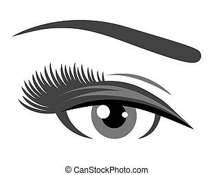 cils, oeil, gris, long