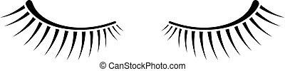 cils, simple, deux, arrière-plan noir, blanc, icône