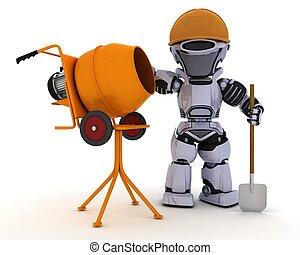 ciment, constructeur, robot, mélangeur