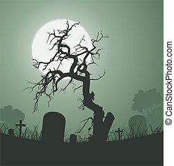 cimetière, arbre mort, halloween, spooky