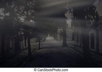 cimetière, vieux, rayons, dernière lumière