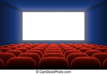 cinéma, écran, vide, illustration, réaliste, vecteur, sièges, intérieur, blanc, salle, rouges