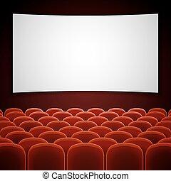 cinéma, film, screen., illustration, vecteur, vide, blanc, salle