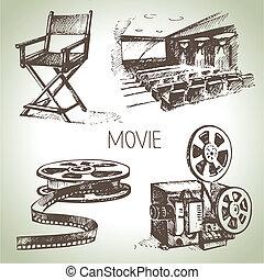 cinéma, film, set., main, vendange, illustrations, dessiné