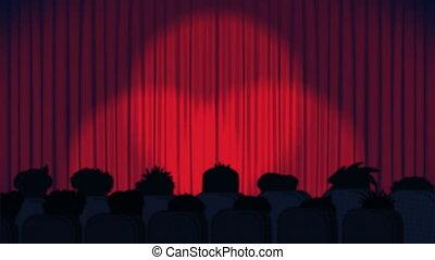 cinéma, projecteurs, rouges, ouverture, en mouvement, rideaux, bleu, audience, fond, animation