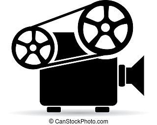 cinéma, vidéo, projecteur, icône