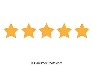 cinq, étoiles, illustration, icon., vecteur, classement