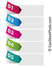 cinq, infographic, autocollants, coloré