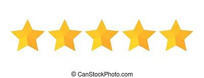 cinq, qualité, classement, icon., étoiles