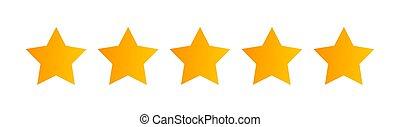 cinq, white., étoiles, qualité, classement, icône, isolé