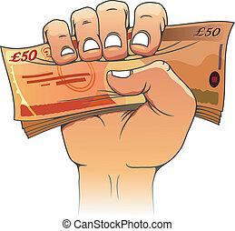 cinquante, livres, billet banque, main