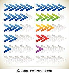 cinquième, progrès, zéro, flèches, indicateur, sequence., step.