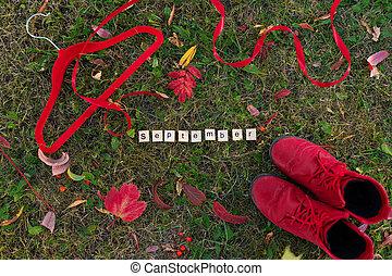 cintre, composé, mot, chaussures, lettres, vêtements rouges