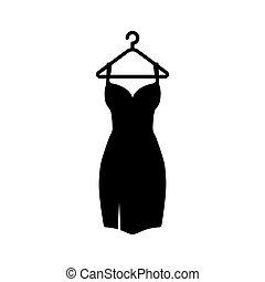 cintre, noir, icon., illustration, vecteur, robe