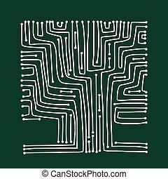 circuit, forme, conception, planche, arbre, informatique