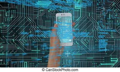 circuit, main a tenu, smartphone, numérique