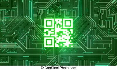 circuit, numérique, incandescent, planche, qr, interface, code, vert, sur, animation