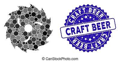 circulaire, grunge, bois, métier, icône, bière, timbre, lame, mosaïque