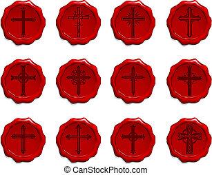 cire, religieux, ensemble, croix, cachet