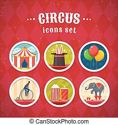 cirque, ensemble, icônes