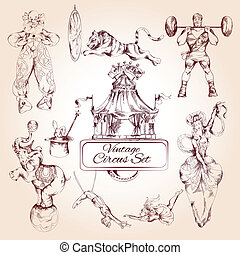cirque, icônes, vendange, ensemble