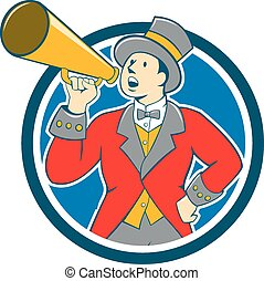cirque, ringmaster, bullhorn, dessin animé, cercle
