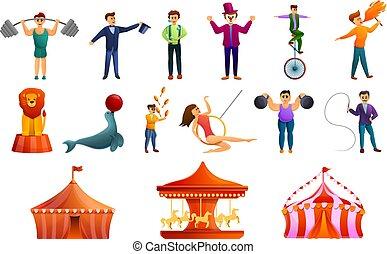 cirque, style, icônes, ensemble, dessin animé