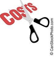ciseaux, coupure, dépense, business, coûts