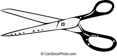 ciseaux, symbole, blanc, isolé, fond