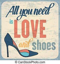 citation, sur, typographique, fond, chaussures