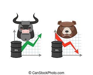 citations, business, commerçants, baril, market., joueurs, taureau, titres, bear., vert, exchange., declines., flèche rouge, increase., graph., huile