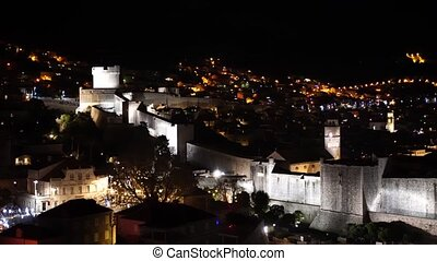 cities., dubrovnik, night., croatie, ville, éclairage, nuit, murs, vieux