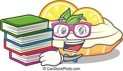 citron, étudiant, sucre, délicieux, livre, fait maison, gâteau, mascotte