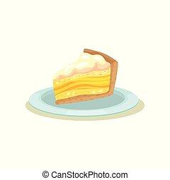 citron, café, cream., tranche gâteau, tarte, fait maison, délicieux, dessert., menu, vecteur, conception, savoureux, plat, plaque.