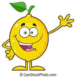 citron, caractère, salutation, jaune, onduler, fruit, vert, frais, feuille, heureux, dessin animé, mascotte