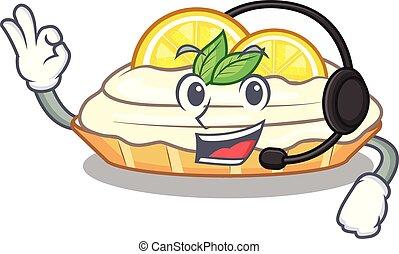citron, délicieux, sucre, fait maison, gâteau, casque, mascotte